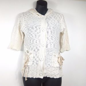 Confess  Ivory White Knit Button Sweater Hoodie M